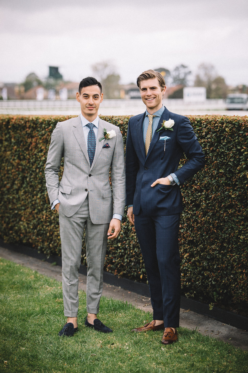 Harrolds Caulfield Cup mens fashion suits at Spring Racing Carnival in Melbourne